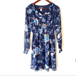 H&M Maternity blue floral long sleeve dress